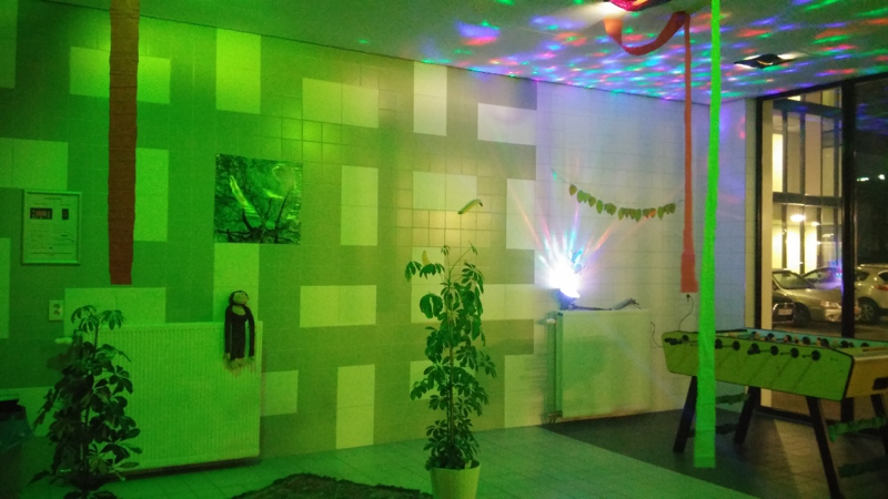 De wasruimte van de J.Veltman volledig in jungle thema
